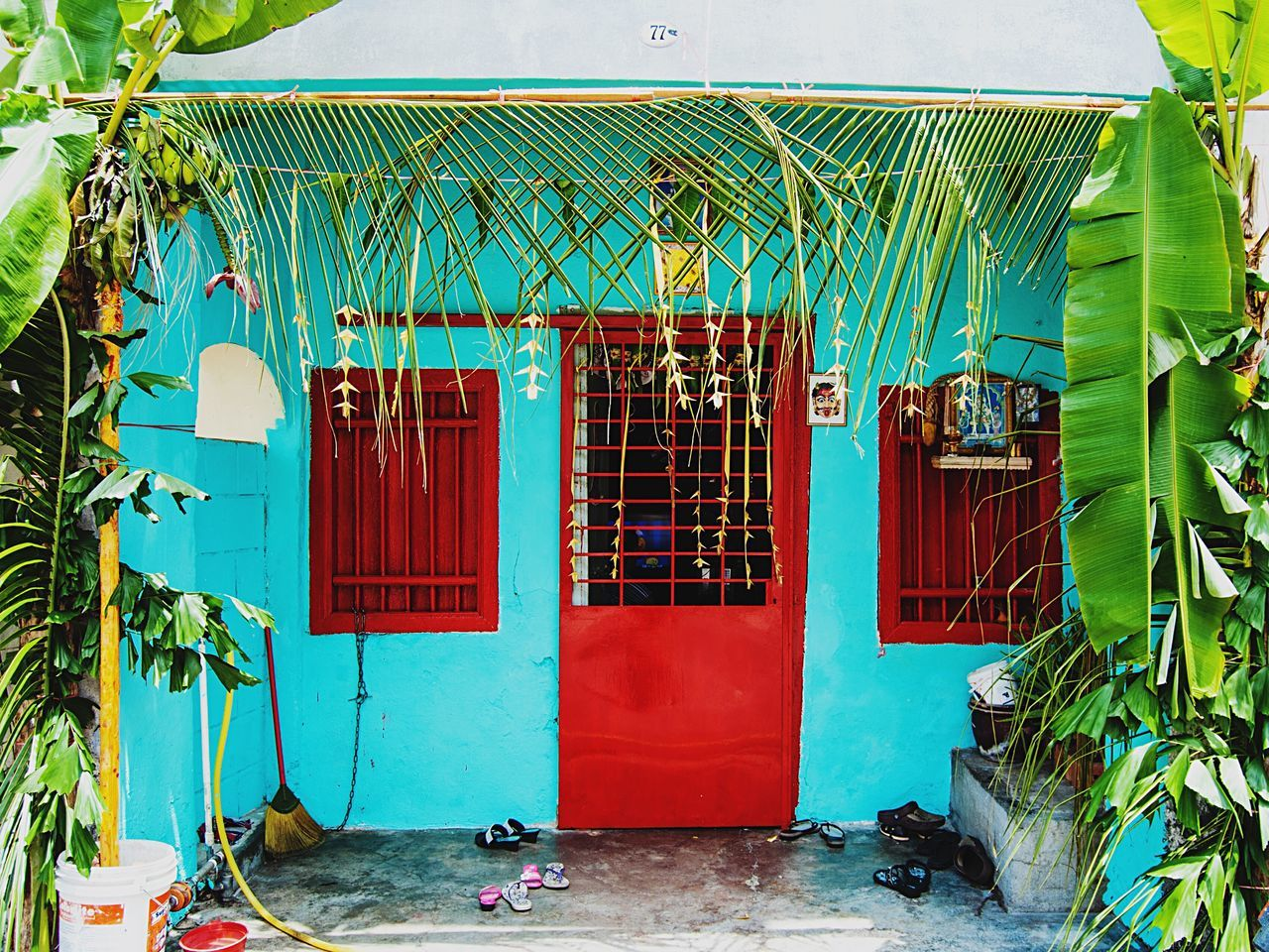 Building Exterior Architecture Authentic Culture Georgetown Penang Malaysia Southeastasia World Heritage Site Colorful Bright Red Blue Green Fasade Home Door Windows Asian  Travel House
