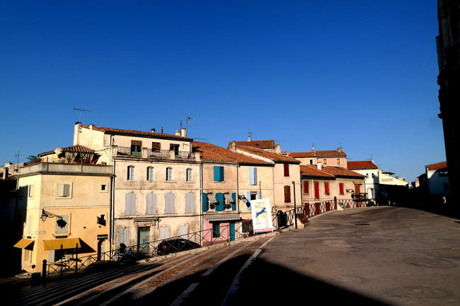 Architecture Arles Blue Blue Sky Built Structure Camargue City Life Cityscapes Clear Sky Colorful Empty Places Eye4photography  EyeEm Best Shots EyeEm Gallery EyeEmBestPics Façade Famous Place France From My Point Of View No People Old Houses The Week On EyeEm Tourism