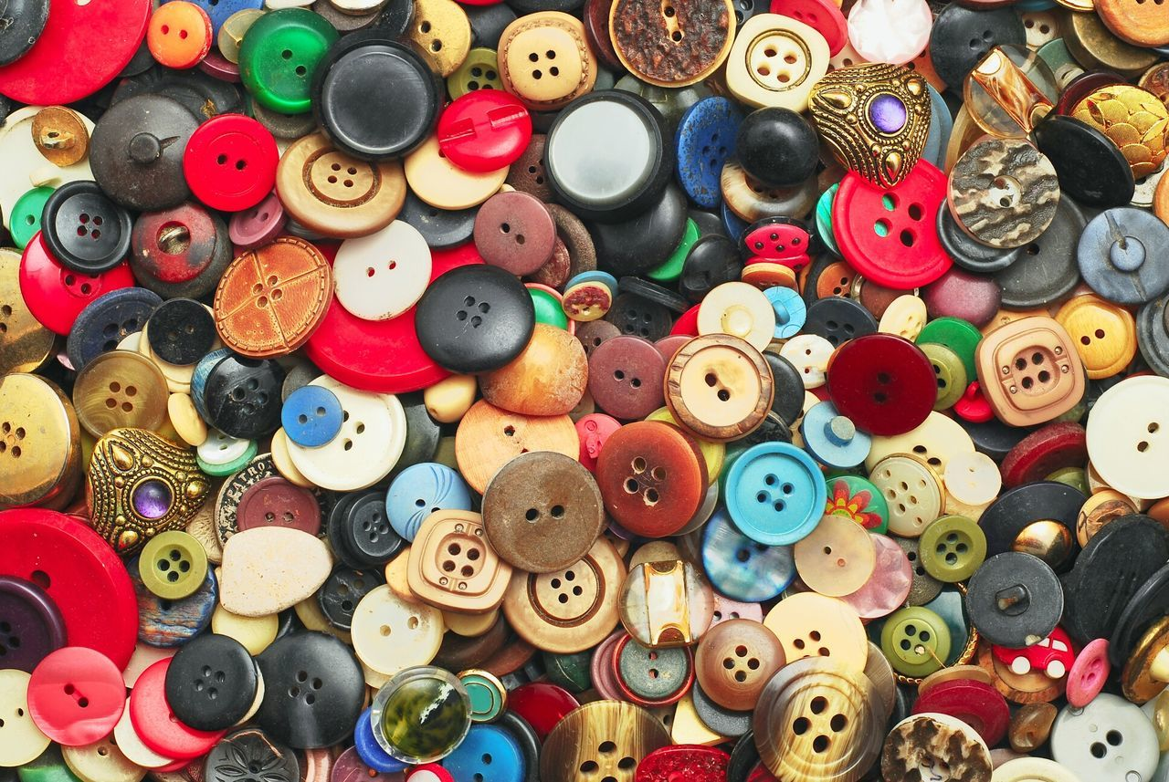 large group of objects, multi colored, variation, choice, abundance, for sale, button, full frame, collection, indoors, sewing item, no people, sewing, retail, day, close-up