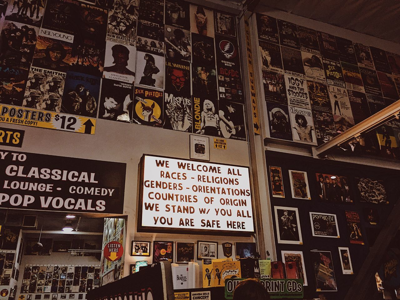 Travel Destinations Musician Musical Sunset Boulevard Hollywood Los Angeles, California Rock And Roll Music Vintage Interior Design Fun Records Record Store Vibes Free Spirit Freedom Neon Sign Vintage Shopping