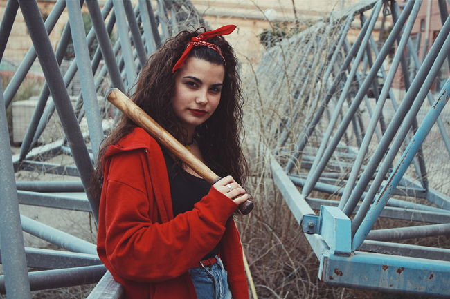 Baseball Bat Day Focus On Foreground Lifestyles Person Red Warm Clothing Young Adult