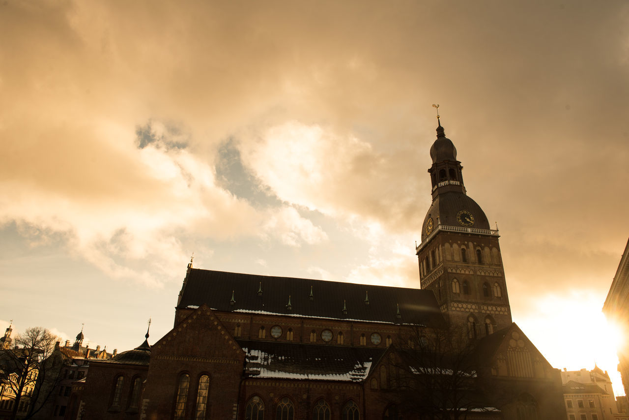 Architecture Building Exterior Built Structure Cathedral Church City Cityscape Cloud - Sky Day History Latvia Medieval No People Old Riga Outdoors Place Of Worship Riga Sky Sunset Tower Travel Travel Destinations