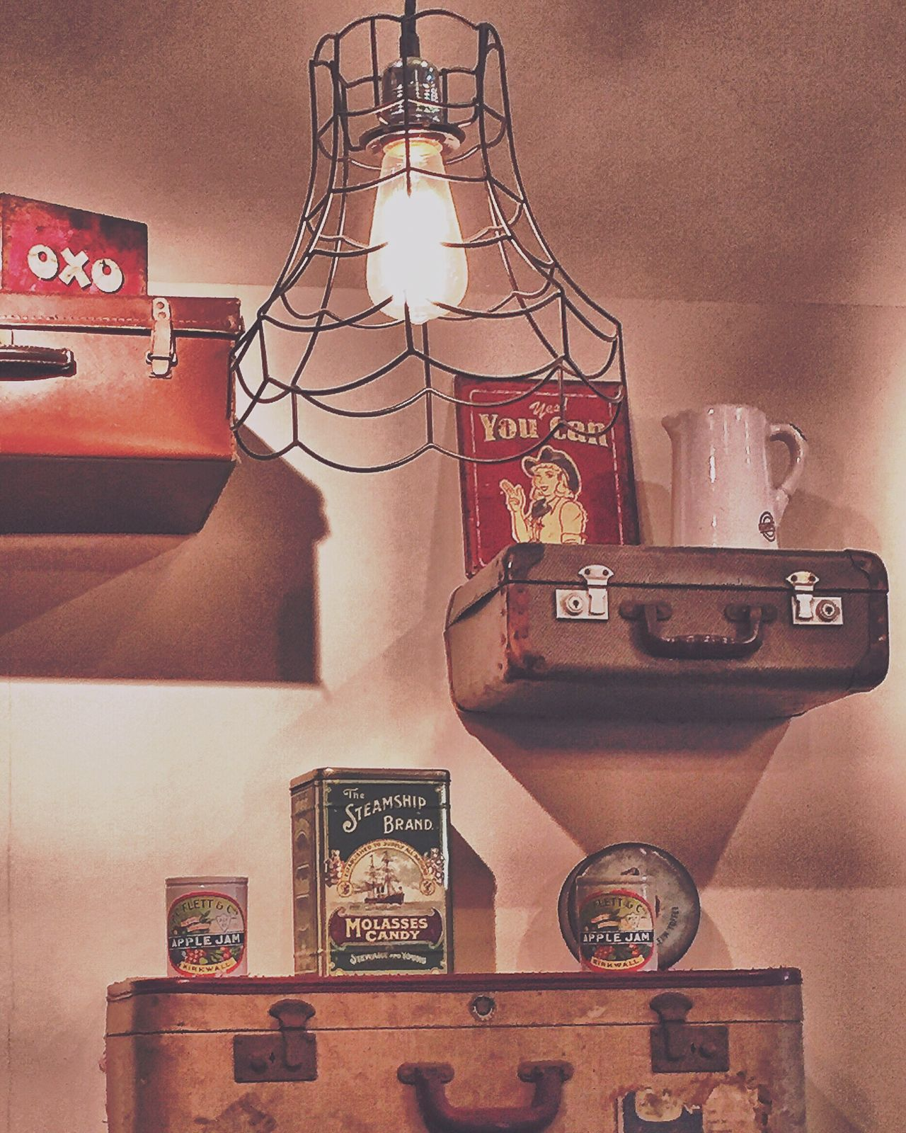 1940 1940s Cafe Suitcases Lampshade Oxo Shelves