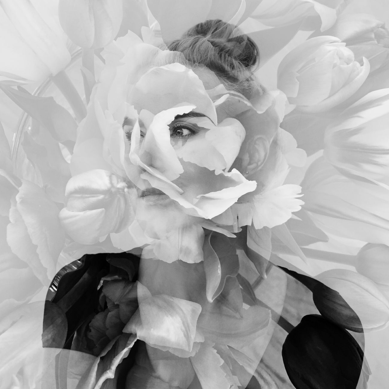 AMPt_community Selfportrait NEM Self Portrait NEM Black&white Flowers Bw_collection Shootermag Tulips NEM ImpossibleHumans