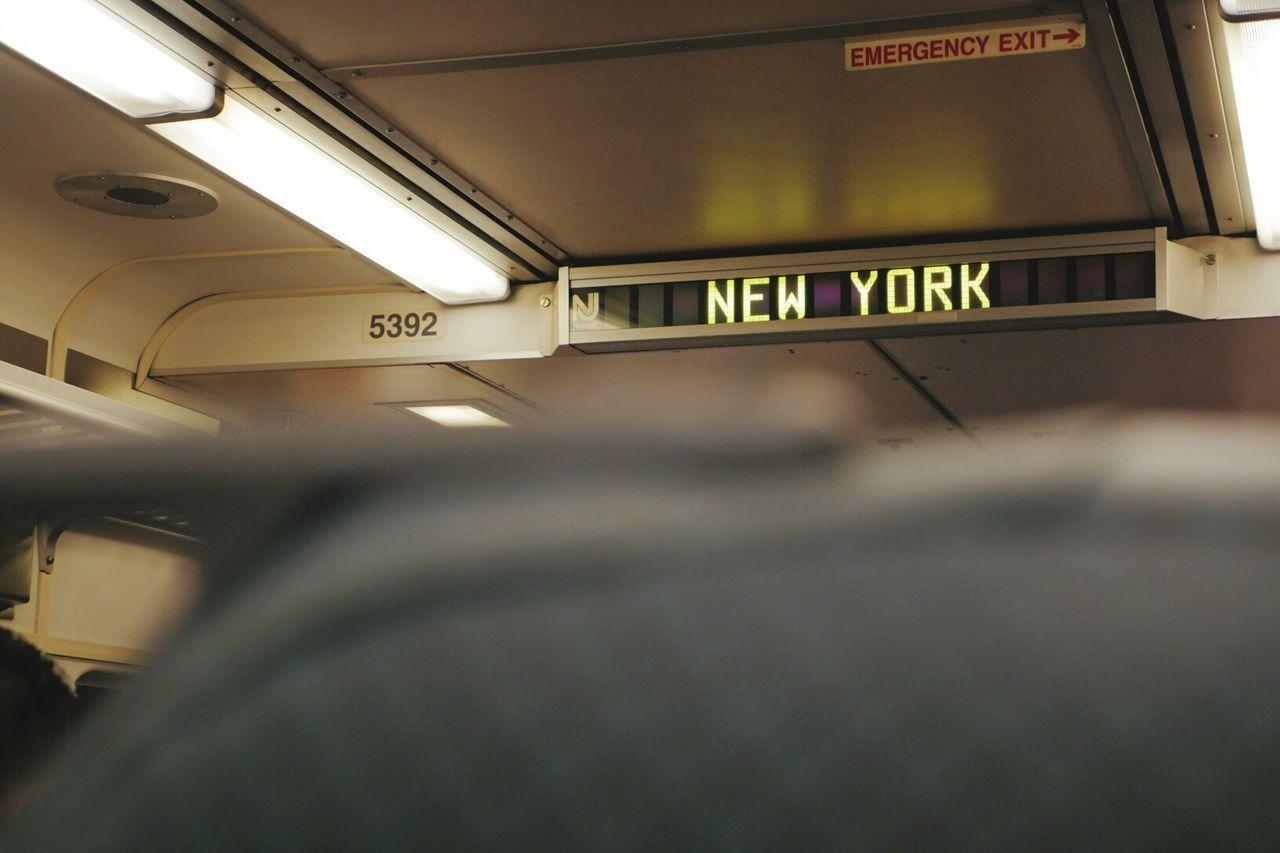 Transportation Indoors  Travel Exit Sign No People Illuminated Day New York Train