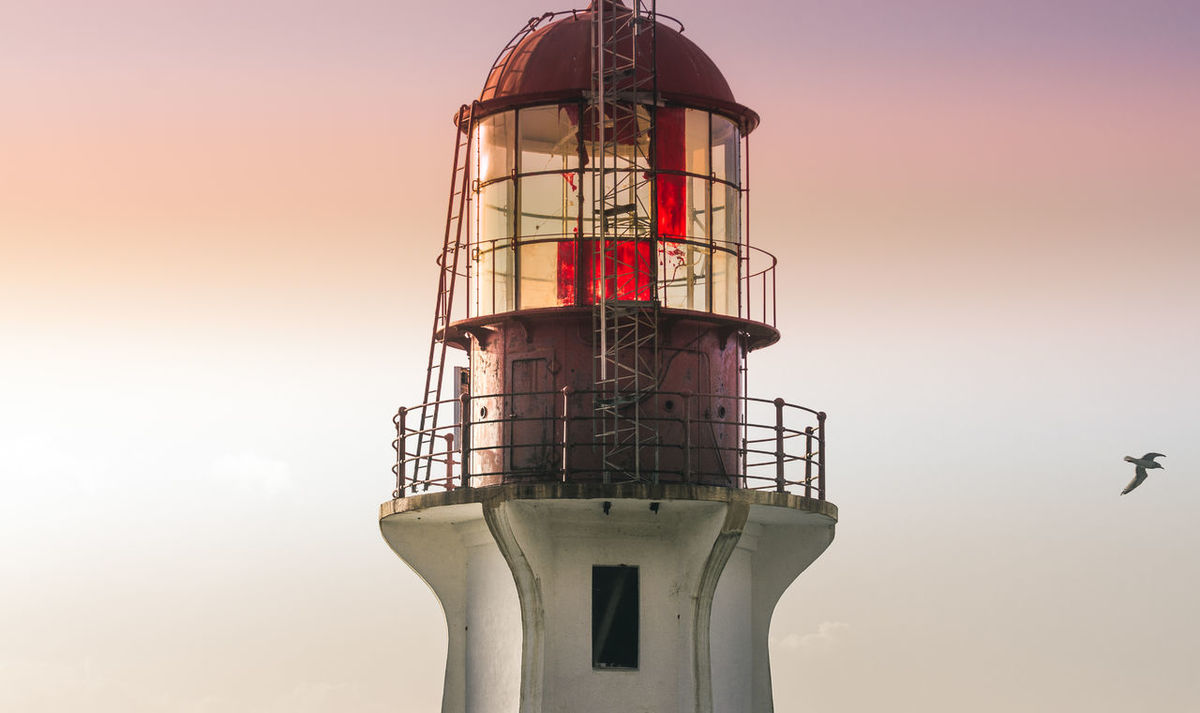 Generic Lighthouse Worn Weathered Seagull Simple Shattered Glass Yellow Glass Old Equipment Business Finance And Industry Tower Sunset Sky Outdoors No People Day WestCoast Scenics Sunny Sheringham Point