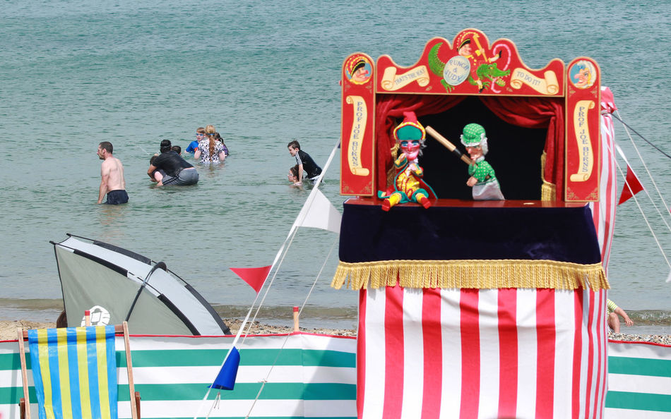 Bathers Bathers Beach Beach Beachphotography Day Outdoors Person Puppets Puppets At Street Puppetshow Sea Seaside Swanage Tourism Travel Destinations Vacations Water