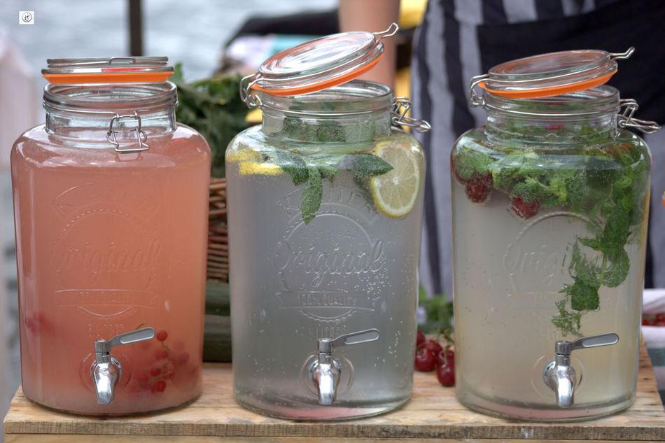 Arrangement Bottle Fresh Lemonade Jar Juice No People Refreshment Side By Side