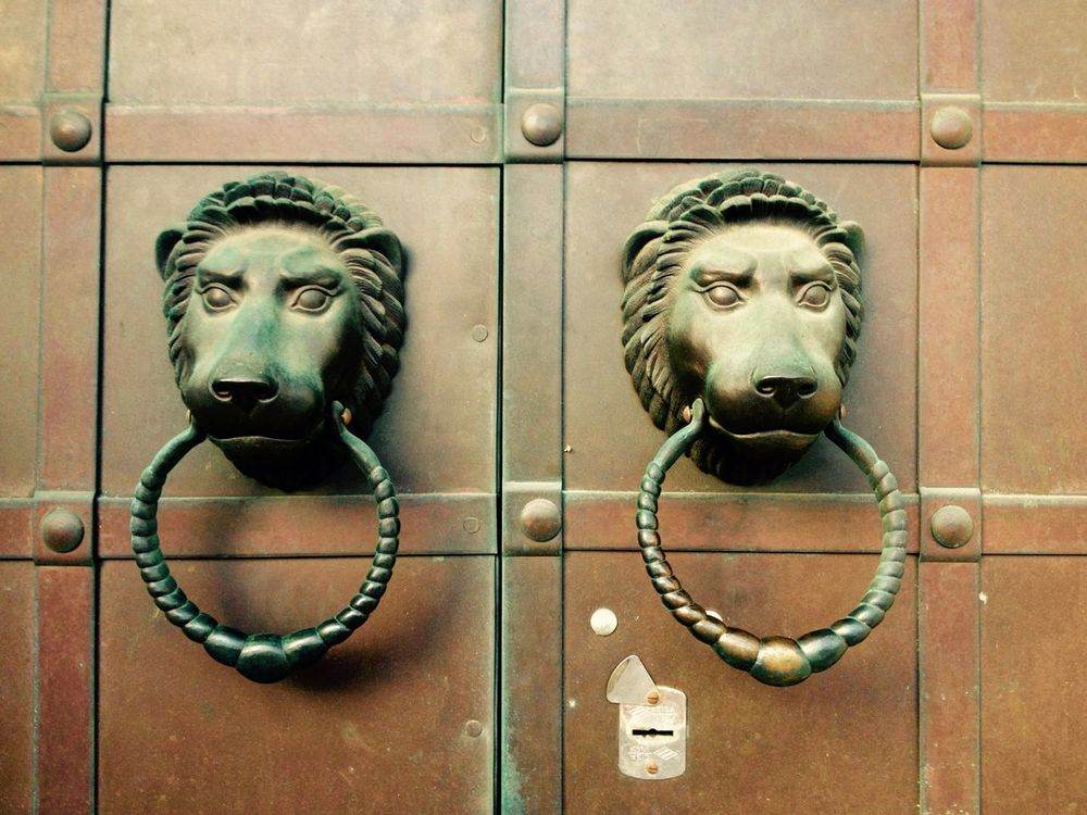 Browm Close-up Closed Details Door Doorporn Entrance Gate Knock Knocker Knockers Moscow No People Old Old Knocker Safety Vintage Lions