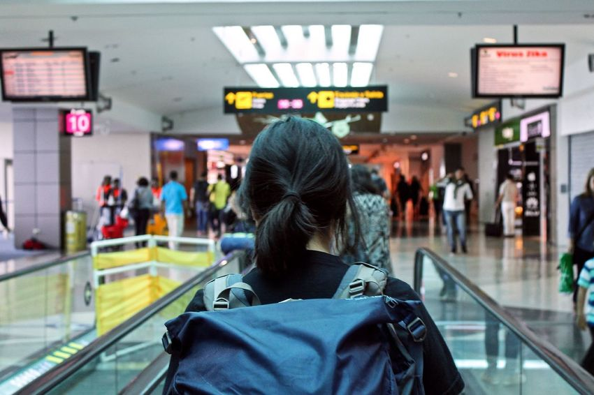 Travel Photography Traveling Airport Layovers FollowTheLeader Leadtheway Backpacker Symmetry One Woman Only Indoors  Woman One Person Walking Adult