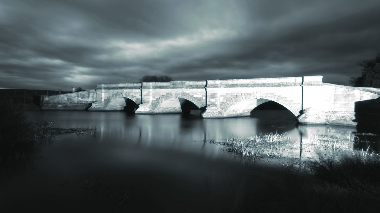 Black & white long exposure at night of the famous Ross Bridge in Tasmania. Arch Bridge Bridge - Man Made Structure Built Structure Cloud Cloud - Sky No People Outdoors River Ross Bridge Sky Tranquil Scene Tranquility Travel Destinations
