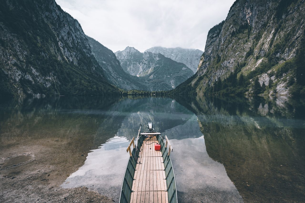Ready for boarding? Mountain Mountain Range Scenics Water Dam Beauty In Nature Non-urban Scene Lake Nature Outdoors Day Tranquility Tranquil Scene Travel Destinations Landscape Sky Tree No People Bavaria