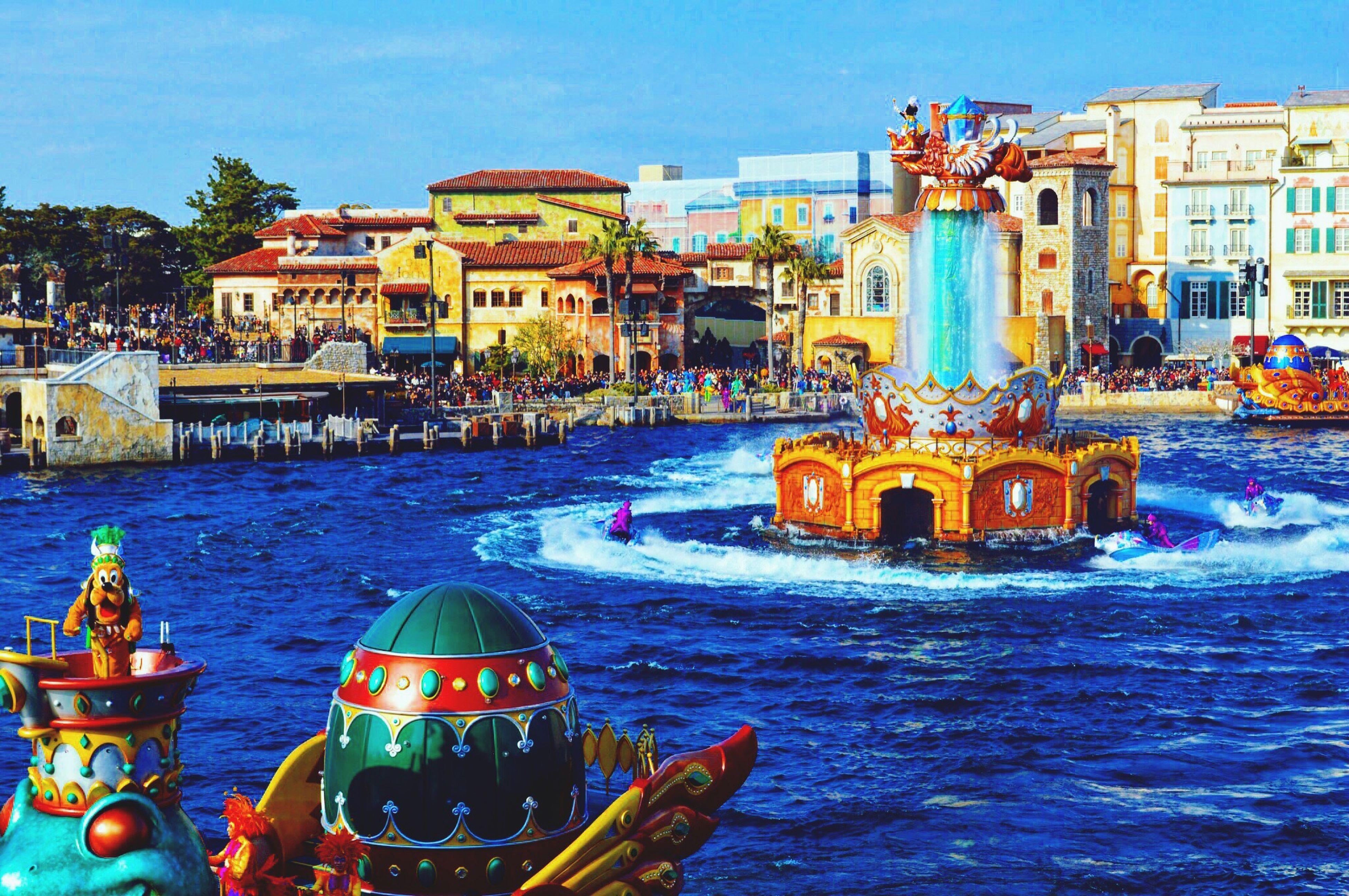 Water Architecture Day Building Exterior Built Structure Outdoors Waterfront Nautical Vessel Sea Real People Sky Nature 東京ディズニーリゾート 東京ディズニーシー レジェンドオブミシカ DisneySea Disneyresort グーフィー Goofy Watershow ディズニー Disney Japan