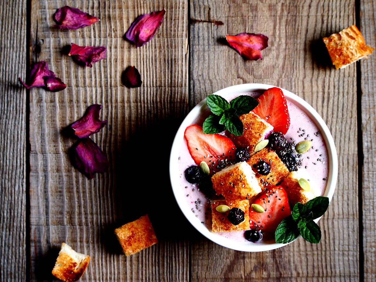 Strawberry Smoothie Bowl with Cinnamon Toast Breakfast Close-up Focus On Foreground Food Food And Drink Food Art Food Photography Food Styling Freshness Fruit Healthy Eating High Angle View My Point Of View Pink Color Sweet Food Table Temptation Wood - Material Art Is Everywhere Visual Feast