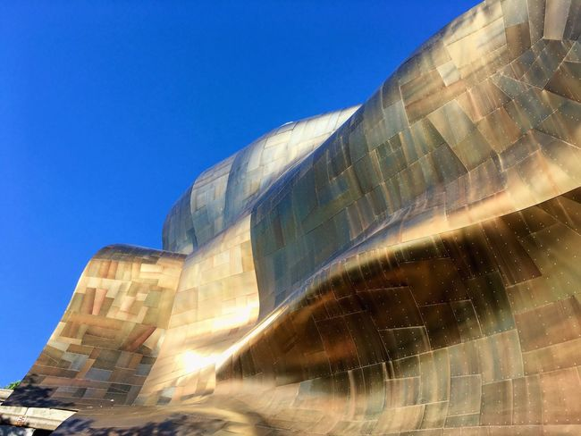 Seattle Architecture Blue Sky Blue Curves Frank Gehry Gold EMP (Seattle) Emp Museum 43 Golden Moments