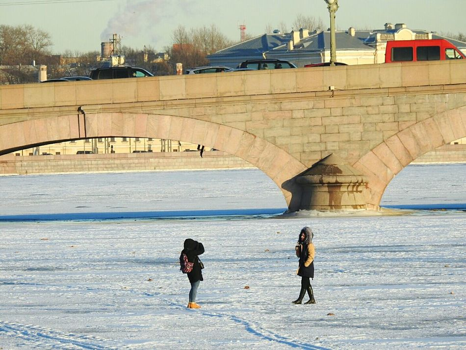Architecture Snow Beach Day Selfie On River Ice Architecture Troickii Bridge Bridge Neva People Sunlight Travel Destinations Landscape Winter Beach Streetphotography Colors Of Sankt-Peterburg Sankt-Petersburg Russia EyeEmNewHere
