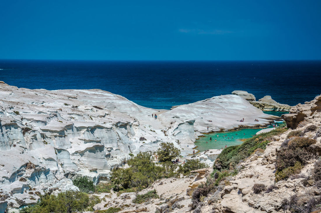 Beach Beauty In Nature Blue Chalk Clear Sky Cove Cretaceous Day Greece Horizon Over Water Landscape Mediterranean Sea Milos Nature No People Outdoors Rocks Sarakiniko Scenics Sea Sky Stone Turquiose Water White