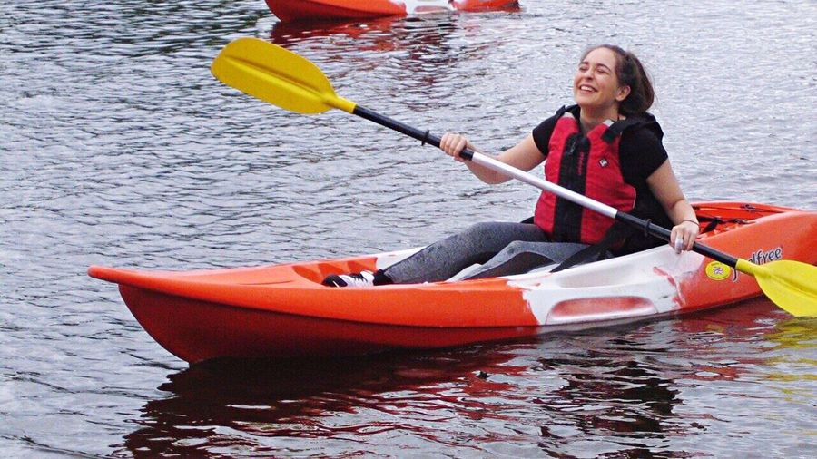Enjoy The New Normal Smiling Kayak Summer Young Adult Sport Adventure Laughing Fun