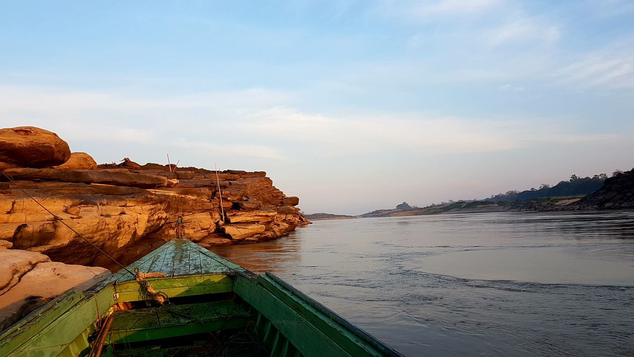 Water Scenics Tourism Sky Beauty In Nature No People Sea Travel Destinations Nautical Vessel Nature Outdoors Day s Sampanbok Stone River Khong River Bangkokeater Best View Isarn Trip