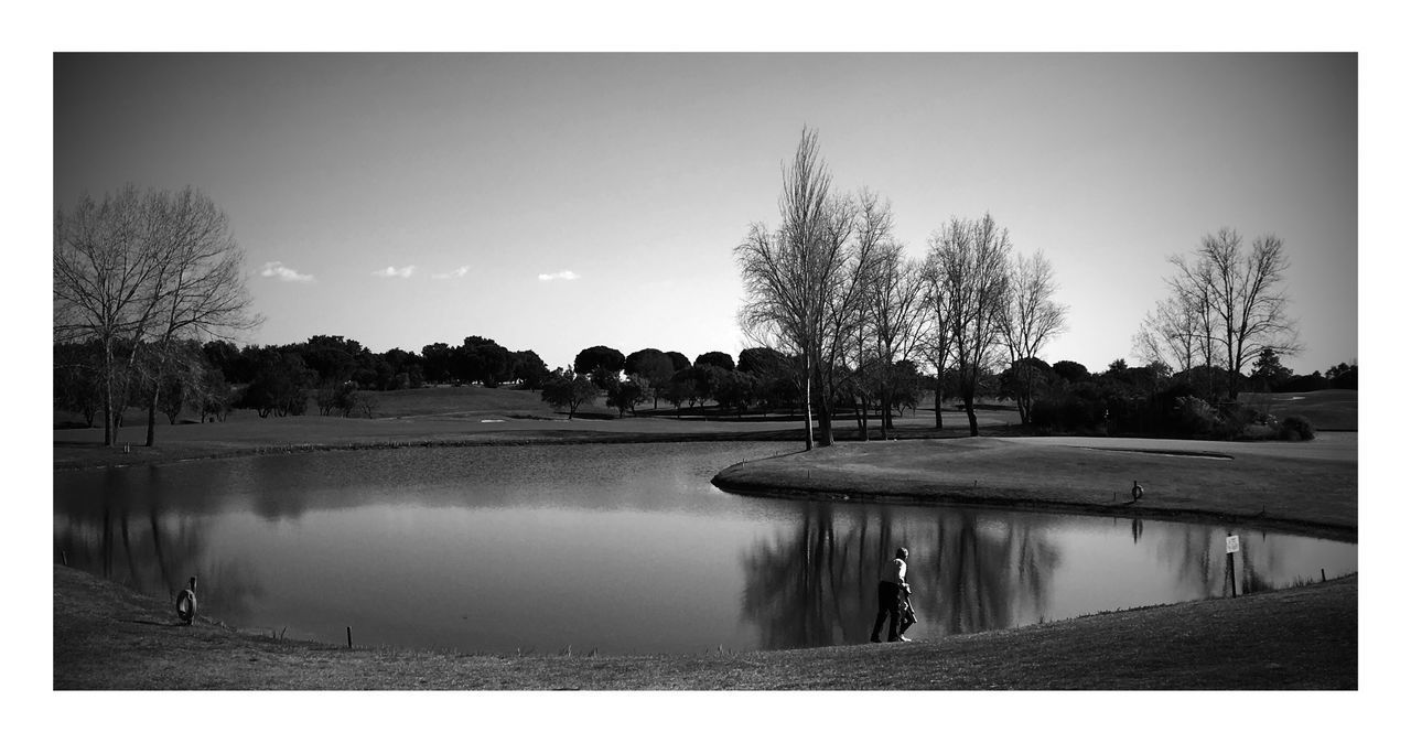 Bare Tree Blackandwhite Day Landscape Nature No People Outdoors Reflection Sky Tranquil Scene Tranquility Tree Water