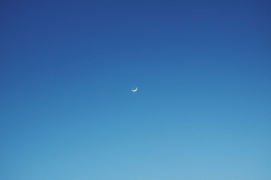 Moon Moonlight Moon Shots Moon Blue Clear Sky Copy Space Nature Beauty In Nature Tranquil Scene Tranquility Scenics Astronomy Half Moon Low Angle View Planetary Moon Crescent No People Sky Outdoors Sky Only Night Space EyeEm Gallery EyeEmNewHere