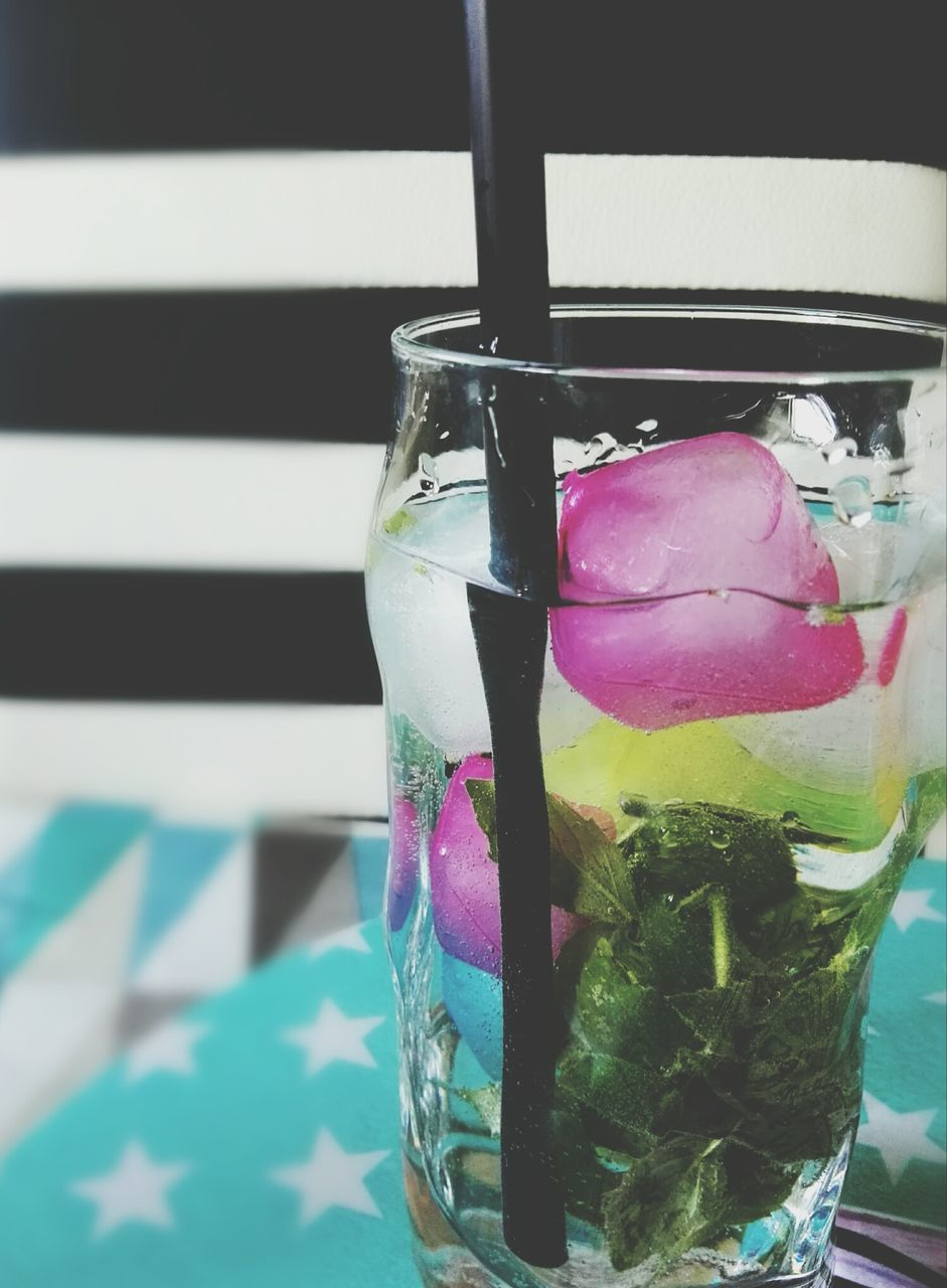 food and drink, refreshment, freshness, drink, drinking glass, multi colored, no people, drinking straw, cold temperature, close-up, table, indoors, mint leaf - culinary, food, day