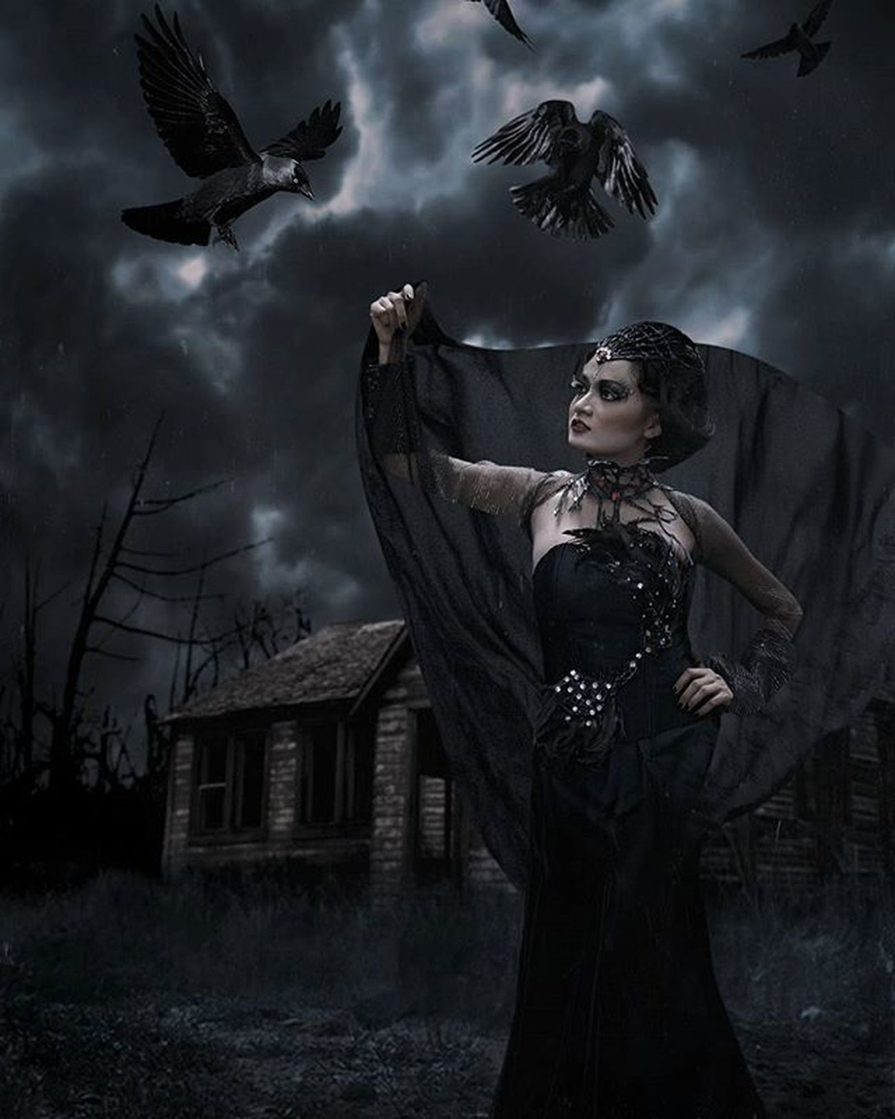 Queen of Ravens Darkscene Dark Raven Darkqueen RavenQueen Photoshop Digitalimaging Queen Darkness Huscyendra
