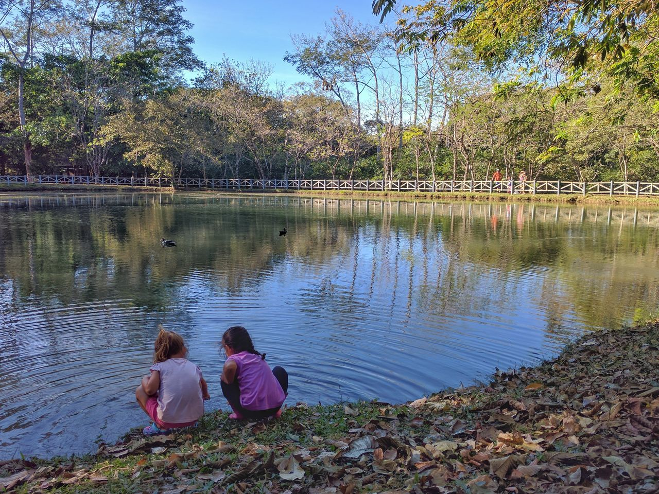 Animal Themes Childhood Childhood Memories Children Costa Rica Costa Rica❤ Day Friendship Girls Lake Leisure Activity Lifestyles Nature Outdoors People Real People Reflection Sitting Sky Togetherness Tree Water