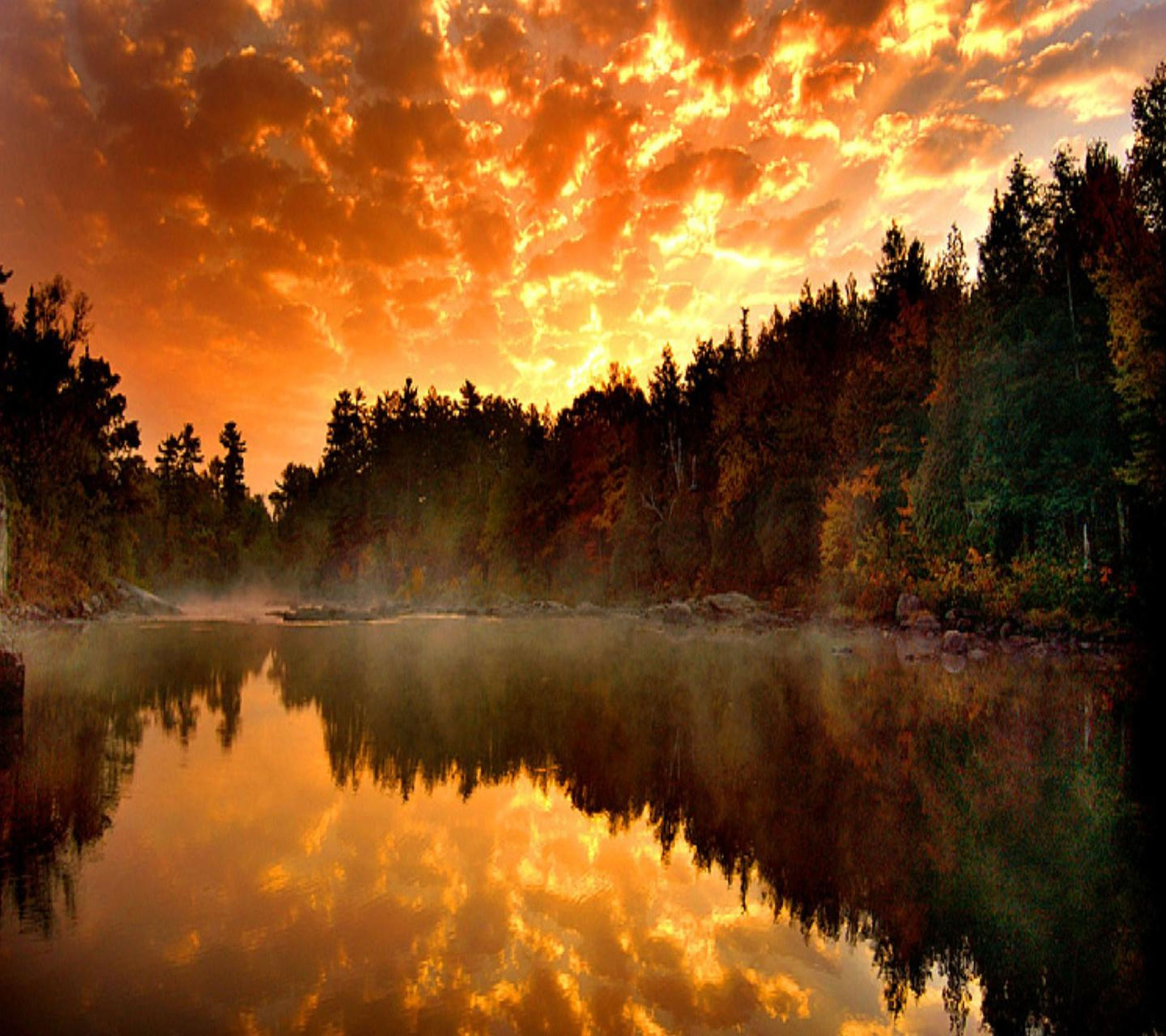 tree, reflection, sunset, tranquil scene, tranquility, scenics, lake, water, beauty in nature, sky, orange color, cloud - sky, nature, idyllic, silhouette, waterfront, cloud, non-urban scene, majestic, outdoors