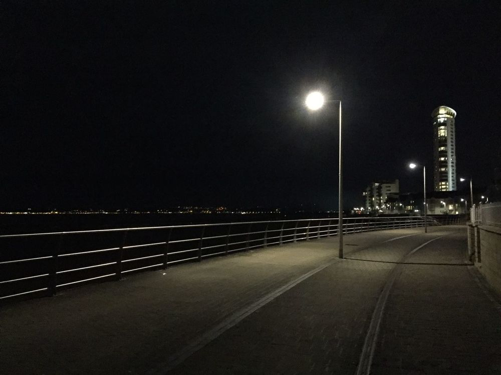 Beach Bi Bike Cycling Light Mumble Nightime Noir Path Promenade Railing Swansea Wales