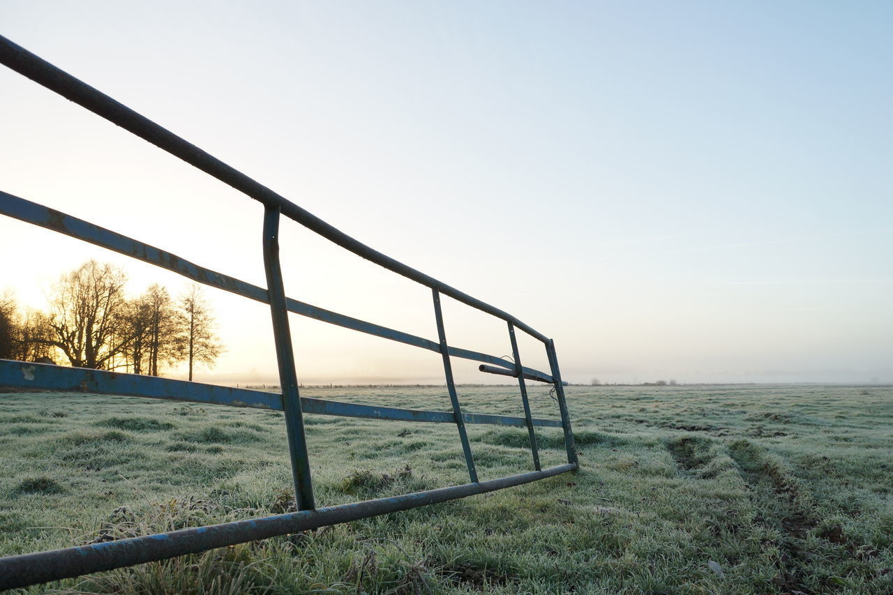 The open gate Clear Sky Cold Entrance Field Foggy Foggy Morning Frost Gate Grass Haze Landscape Meadow Morning Nature Open Pasture Perspective Silhouette Sky Sunrise Trees Wide Angle Winter Winter Morning Wintertime