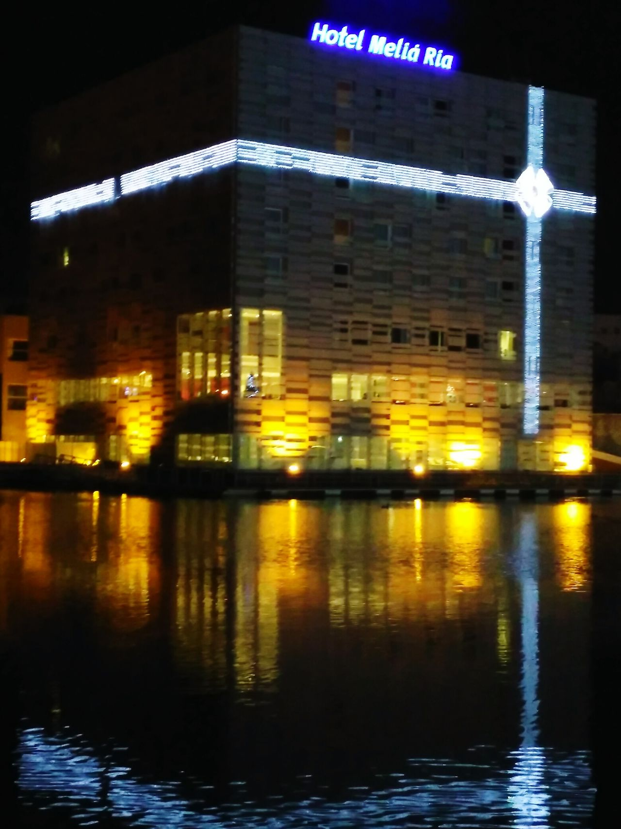 Aveiro Natal Melia Hotel Reflection Illuminated Night Water No People Outdoors City Architecture Sky