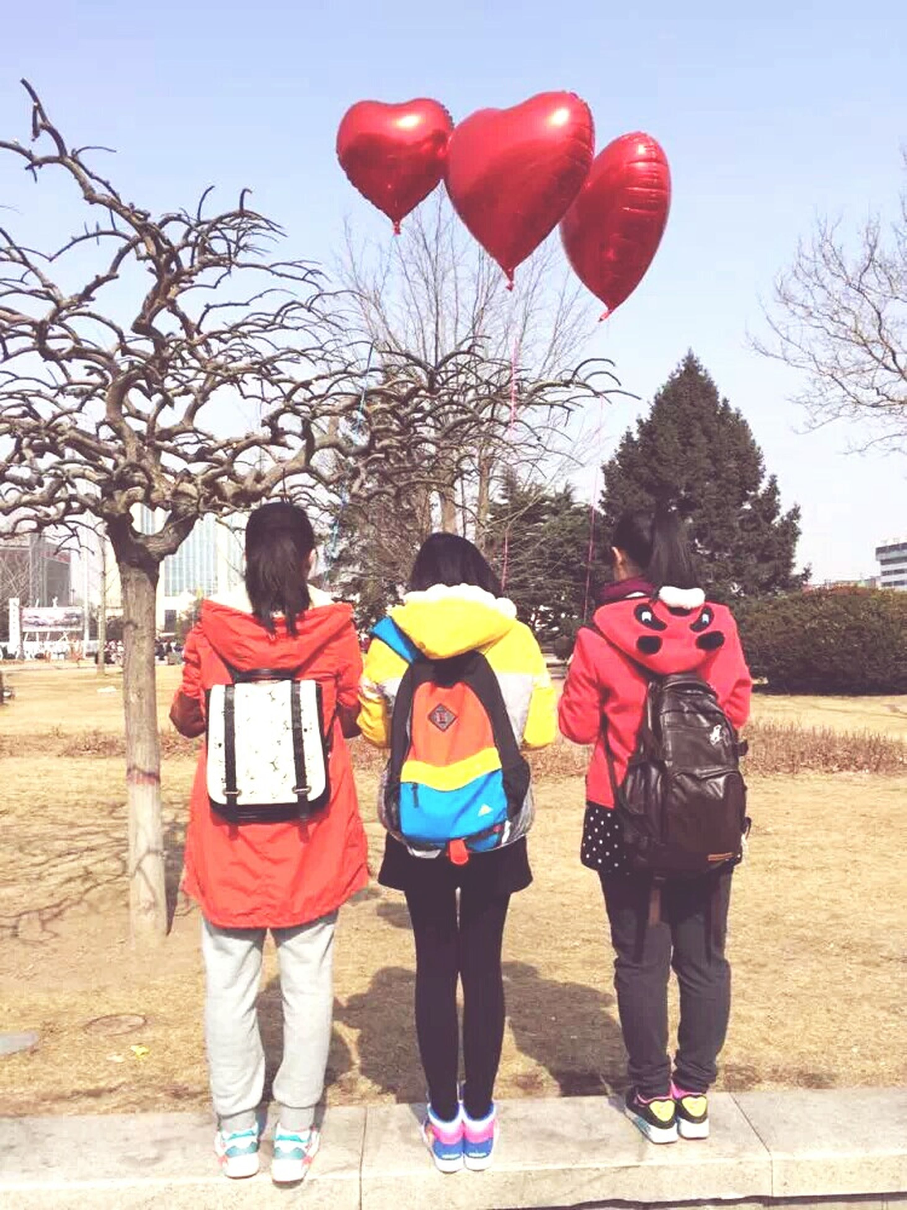 lifestyles, rear view, leisure activity, men, full length, casual clothing, togetherness, celebration, walking, person, standing, tree, balloon, red, cultures, umbrella, sky, clear sky