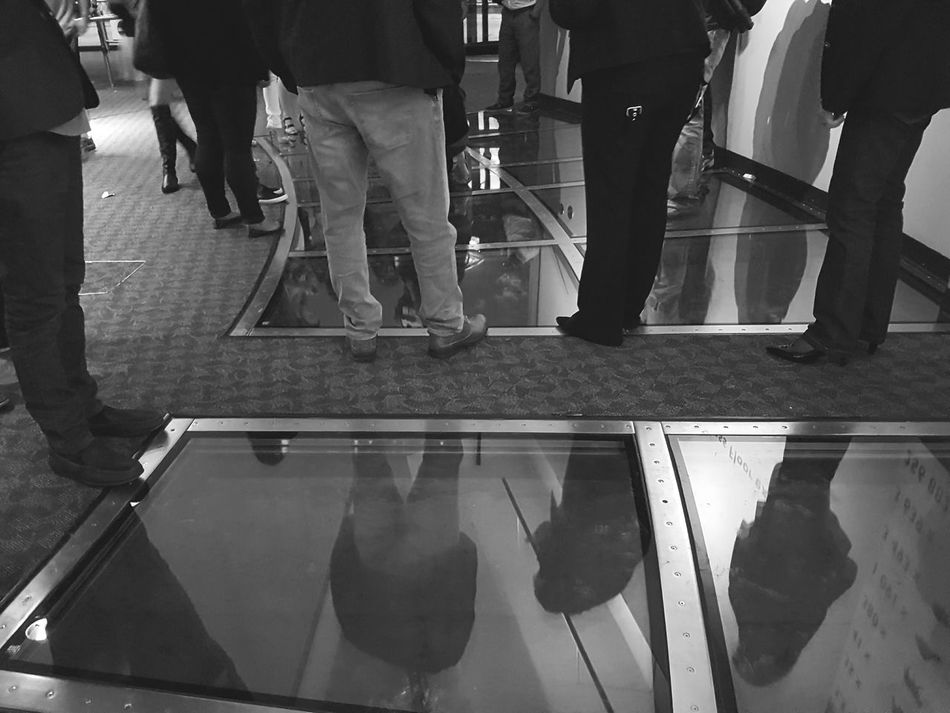 Feel The Journey People Watching Glass Floor CN Tower Toronto Canada Reflexions People Standing Legs_only Black And White Monochrome Adapted To The City