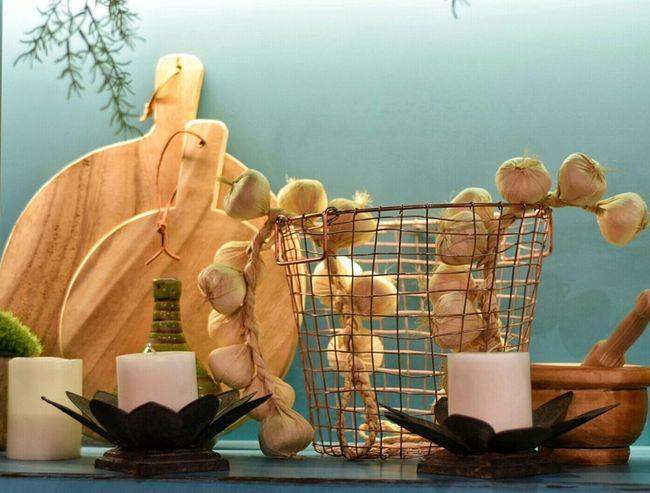 Garlic String Of Garlic Garlic Bulbs Chopping Board Candles Mortar And Pestle Blue Shelf Display Shelf Kitchen Kitchenware Kitchen Art Kitchen Things Kitchen Display Kitchen Life Kitchen Utensil