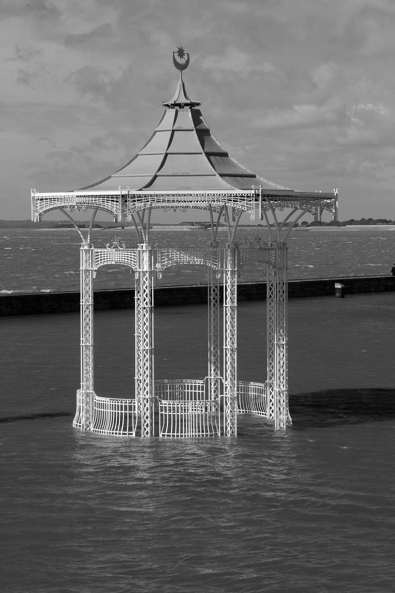 Swamped Bandstand Katie, Southsea, Bandstand, Blackandwhite Portsmouth