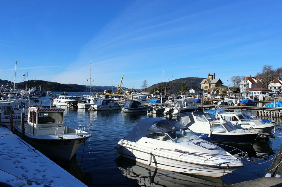 Moored Nautical Vessel Harbor Sea Blue Sky Water Yacht Marina Outdoors Nature No People Transportation Reflection Tranquility Sunlight Sea_collection Drøbak Waterfront