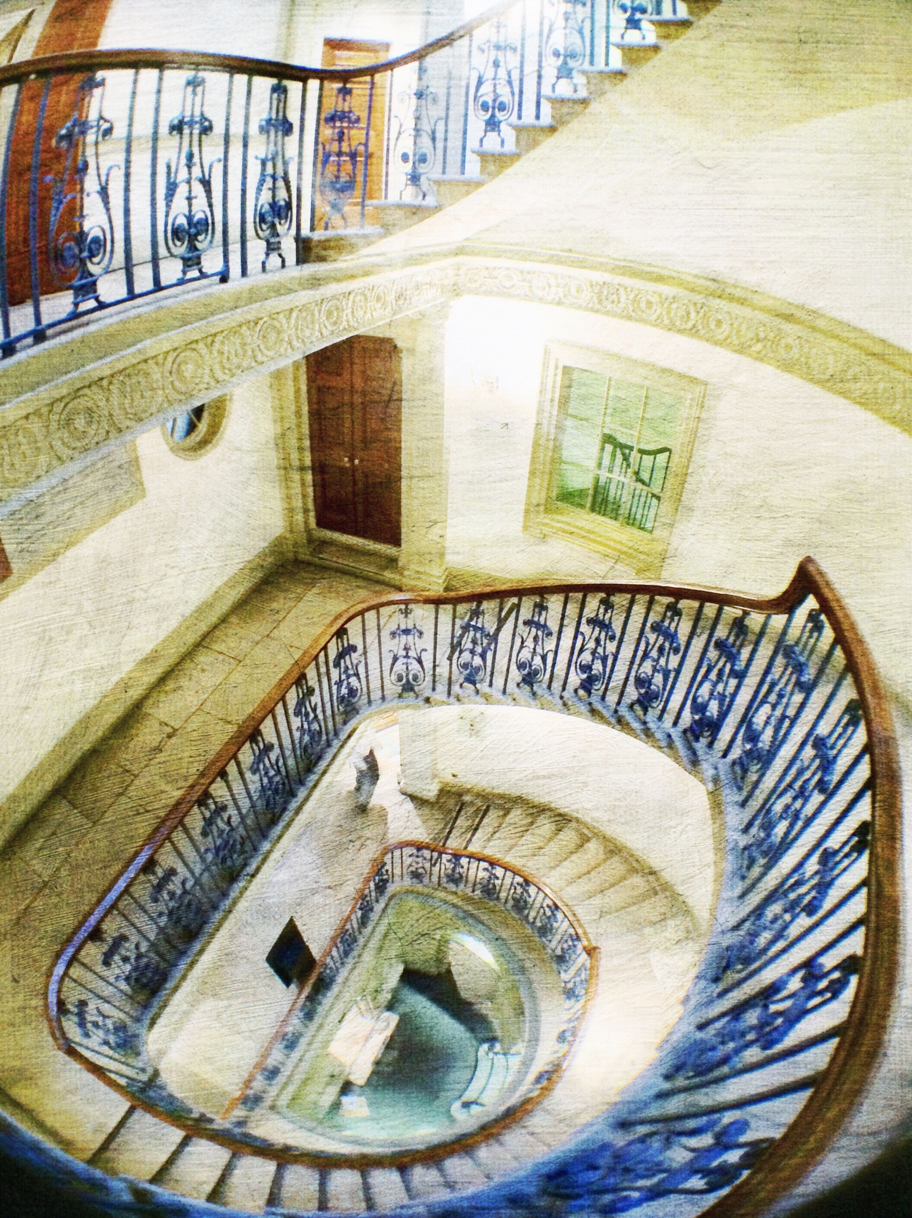 steps, architecture, steps and staircases, built structure, staircase, spiral staircase, railing, indoors, spiral, high angle view, building exterior, pattern, building, circle, design, stairs, no people, day, arch, metal