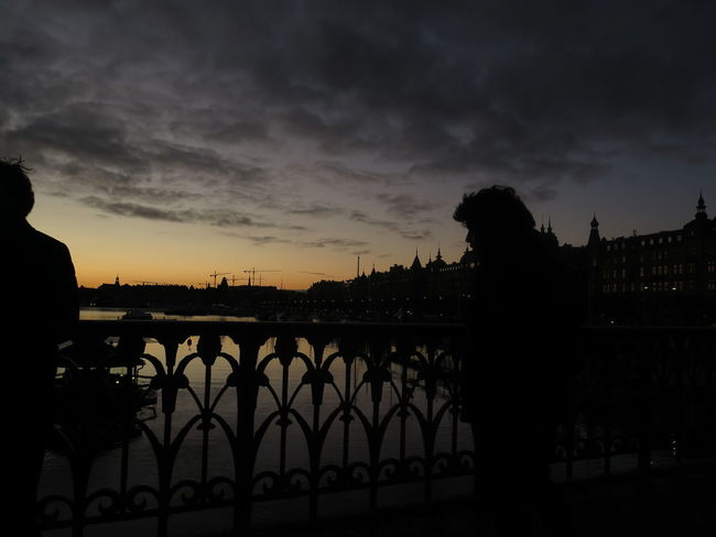 silhouette... Bridge City Cloud - Sky Cloudy Dark Dramatic Sky Outdoors Reverse Light Scenics Silhouette Silhouette Collection Silhouettes Of A City Silhoutte Photography Sky Stockholm Sunset Sweden Tranquil Scene Tranquility