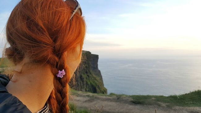 Beauty In Nature Braided Hair Cliff EyeEm Best Shots EyeEm Gallery EyeEmBestPics Headshot Human Face Human Hair Nature Person Rear View Redhead Sky Standing Young Adult