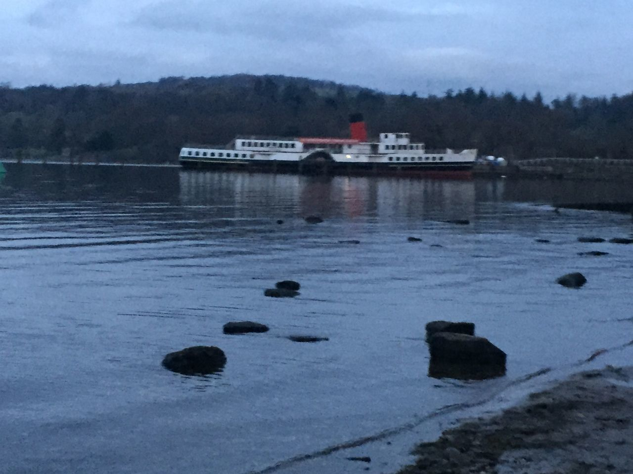LochLomond Calm Boat Mode Of Transport Focus On Foreground No People Water Trees Outdoors Rocks Rocks And Water Paddle Steamer Landscape Tranquil Scene Weather Beauty In Nature Scenics