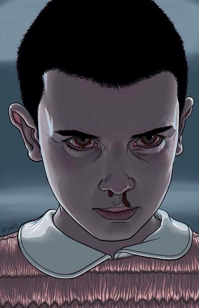 Looking At Camera Portrait Headshot Close-up Front View Person Focus On Foreground Human Face Young Adult Stranger Things Ilustration