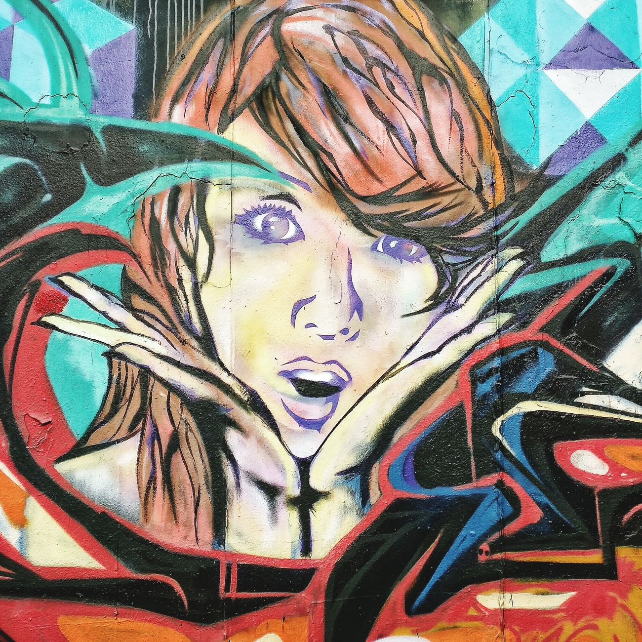 Asian Girl Surprise Koreatown Losangeles Neighborhood Stroll Good Morning Graphitti Streetart Mural Art