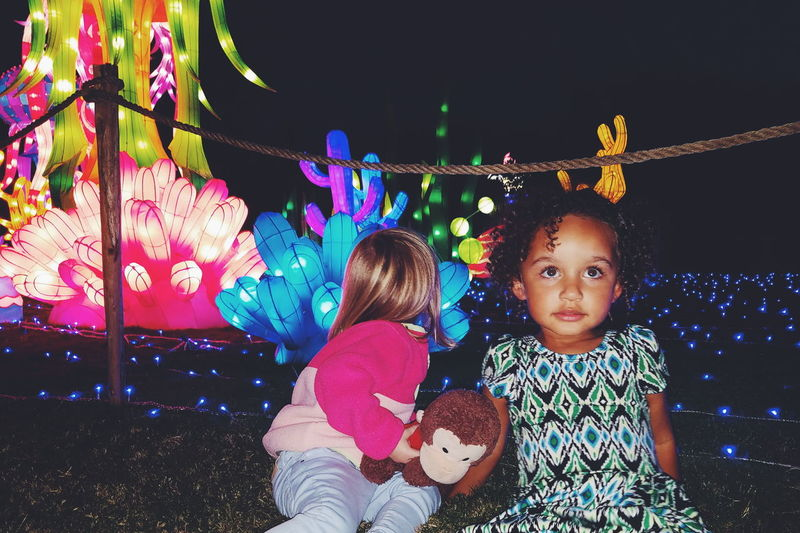 Childhood Girls Two People Chinese Lantern Festival Multi Colored