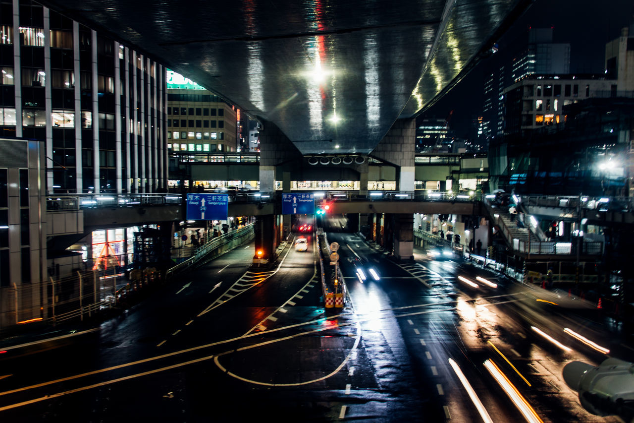 Turn Your Lights Down Low Cities At Night Atmospheric Mood Battle Of The Cities Built Structure City Cityscape EyeEm Best Shots EyeEmBestPics From My Point Of View High Angle View Illuminated Light And Shadow Light Trail Long Exposure Motion Blur Night No People Outdoors Reflection Road Speed Street Light Traffic Transportation