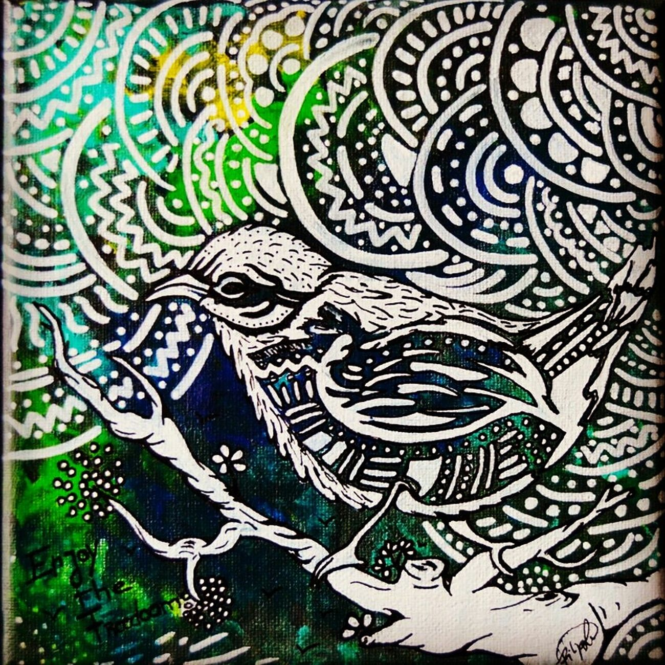 "Have a good day! A paint I did from a serie called ""enjoy the freedom - free of doom"". Acrylic on canvas. Drawing Beauty Love Art Picoftheday EyeEm Porto EyeEm Nature Lover Doctusdesign Life EyeEm Birds"