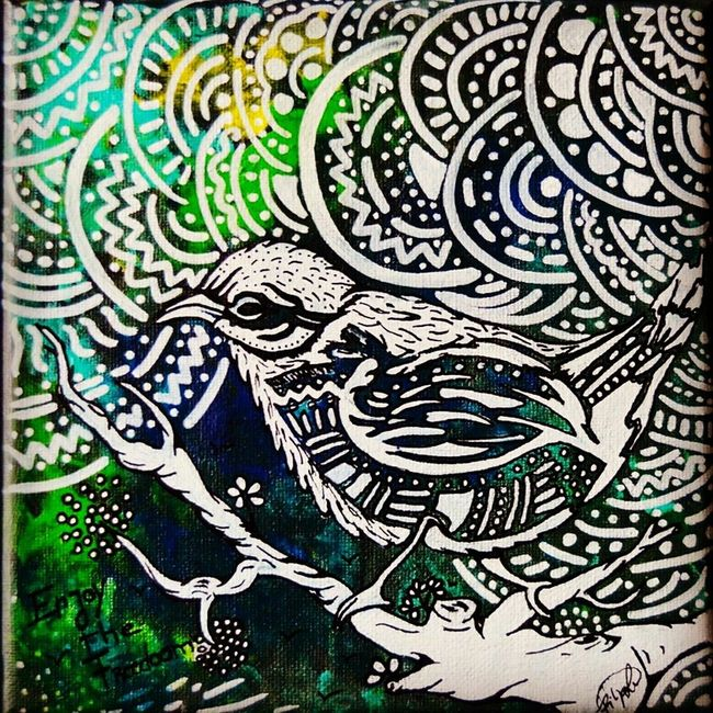 """Have a good day! A paint I did from a serie called """"enjoy the freedom - free of doom"""". Acrylic on canvas. Drawing Beauty Love Art Picoftheday EyeEm Porto EyeEm Nature Lover Doctusdesign Life EyeEm Birds"""