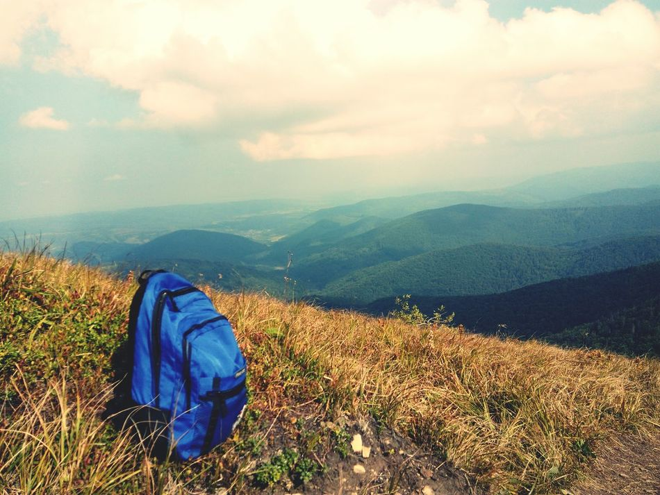 Mountain Landscape Non-urban Scene Sky Beauty In Nature Getting Away From It All Relaxation Nature Tourism Adventure Green Color Travel View No People Outdoors Day Bag Sun Trip Karpathian Karpaty Photography Scenics Tranquility Rear View Finding New Frontiers