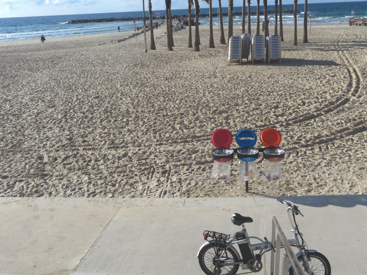 beach, sand, bicycle, day, outdoors, transportation, mode of transport, sea, water, nature, no people, sky