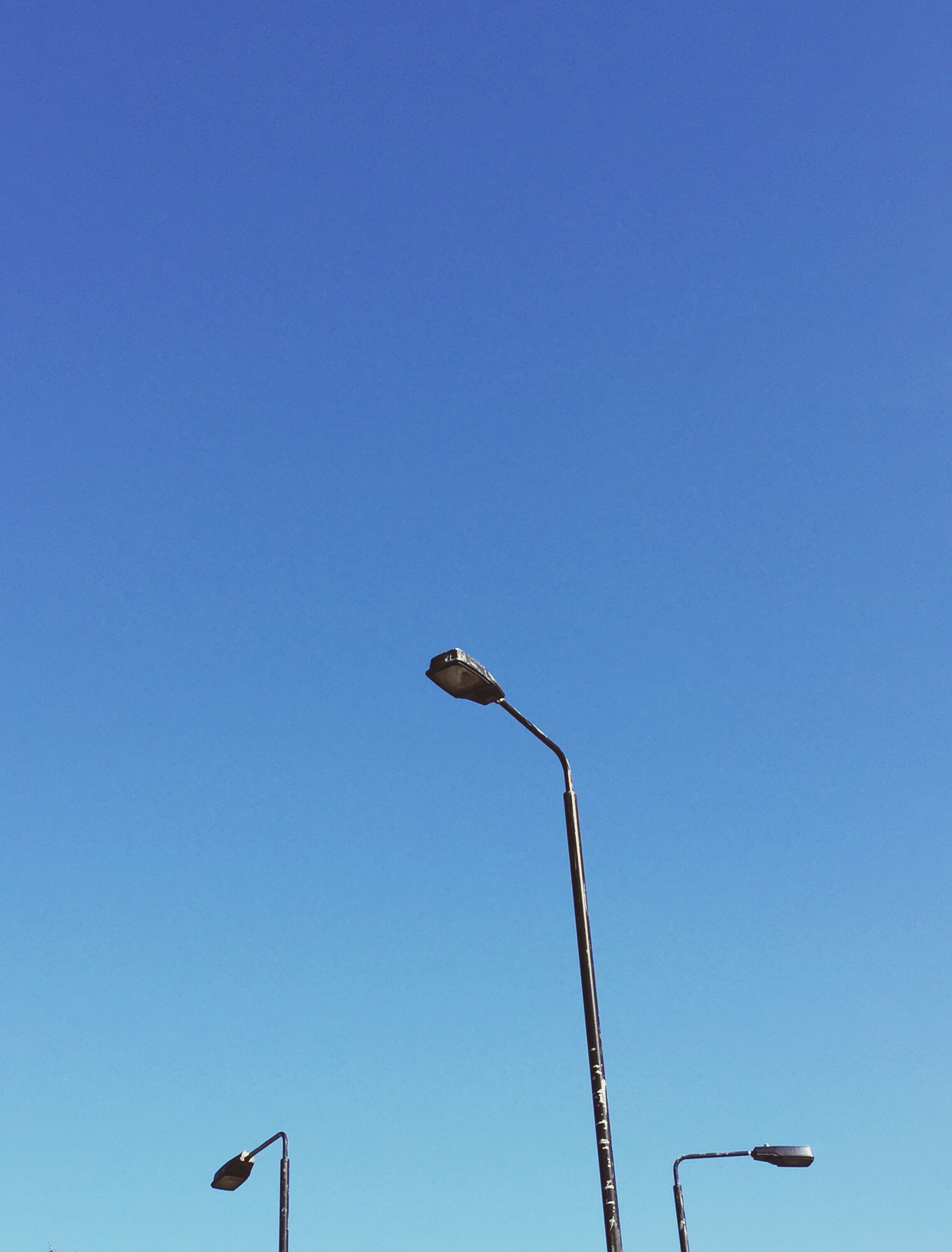 low angle view, street light, copy space, blue, clear sky, lighting equipment, outdoors, day, nature, electric light, high section, tranquility, scenics, no people, beauty in nature, tranquil scene
